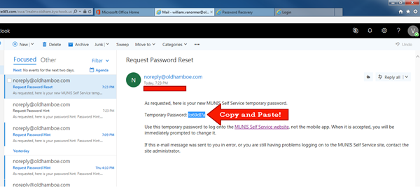Copy temporary password from email