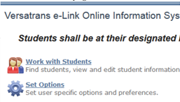 eLink Work with Students Screen