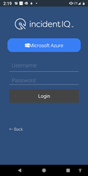 Incident IQ Mobile App Login - Enter Username and Password